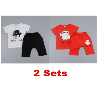 Harga 2 x Z mall boy baby child girl kid cartoon short sleeve shorts T-shirt shirt suit toddler clothing sets 1 2 3 4 years - intl