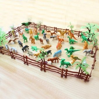 Harga 68 PCS Kids Miniature Plastic Simulation Artificial Zoo Fence Tree Animal Tiger Lion Dinosaur Collection Toy Animals Model Toys Set - intl