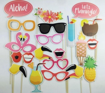 Harga 21-Piece Photo Booth Props Party Favor for Summer Party with Flamingo Glasses - intl