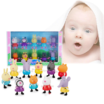 10PCs/Lot Peppa Pig Friends Emily Danny Rebacca Pigs Action Figure Toys Gifts