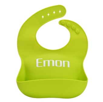 Harga Emon Hot sale Baby bibs waterproof baby bib Silicone bib Kids Bibs Children Pick Rice fruit Pocket Cute Boy And Girls Bibs 3 Color