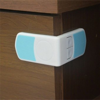 2pc Child Infant Baby Kids Drawer Door Cabinet Cupboard Toddler Safety Lock White Blue - intl