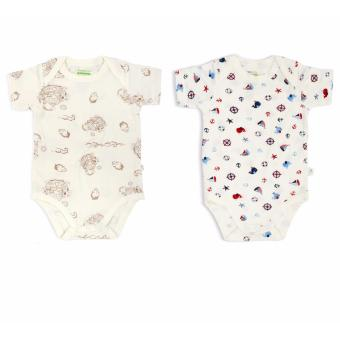 Harga 2-pc Pack – Short-sleeved Envelope Romper (Noah's Ark / Nautical)