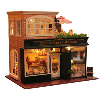 Harga 24th DIY Wooden Handmade Doll house Miniature Kit w/LED Light Music box English instruction & all Furnitures