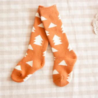 GDS 4 Pairs Baby Cotton Knee High Socks Children In Tube Socks Printcolorful Toddler Winter Spring Long Sock - intl - 4
