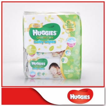 Harga Huggies Baby Wipes Gentle Care 80sx3 1pack