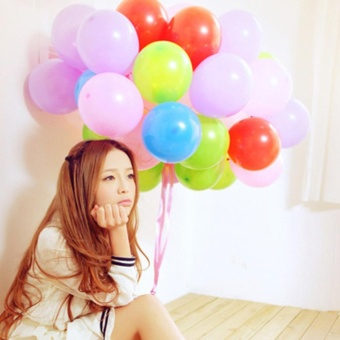 Moonar 100Pcs Plain Helium & Air Balloons Party Birthday Wedding Decor - intl