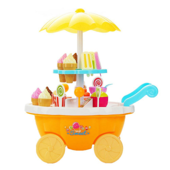 39Pcs Ice Cream &Amp; Sweets Cart Diy Childrens Pretend &Amp; Playmini Sweet Shop Toy Food Play Set With Lights And Sounds(Yellow) - intl