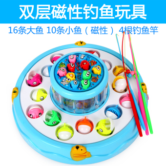 Harga Children fishing toys electric cat double magnetic rotating fishing suit 1-2-3-year-old baby educational toys