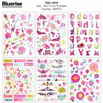 Harga WXS 260Pcs Fish Flowers Alphabet Letters Series Waterproof Temporary Tattoos Stickers Book DIY Body Painting 6 Sheets/Book Special Design Body Art Decals Tatouage - intl