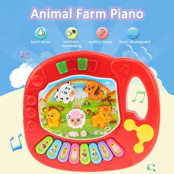 Harga Coolplay Baby Kids Animal Farm Piano Electronic Keyboard Musical Educational Kids Toy Gift Red - intl