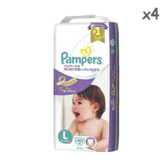 Pampers Premium Care Tapes L40s (9-14kg) - 4 Packs