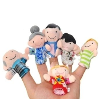 Harga NEW 6pcs Family Style Velvet Finger Puppet Play Learn Story Toy Cute Cartoon Finger Puppets WJ305