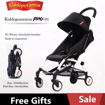 Harga Kiddopotamus® Black colour - Cabin size Ultra Lightweight one hand fold baby stroller - Carriage Infant Travel Flight yoyo/yoya/Quinny/Maclaren/Recliner/Capella/Combi/Maxi/Cosi/Buggy/Bugaboo/Mothercare/Mamalove/Joovy/Goodbaby/Micralite/Jogger styled