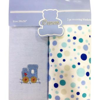 Harga Owen 2Pc Receiving Blanket Blue (Polka Dot)