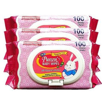 Harga PUREEN BABY WIPES (SCENTED - PINK) 100'S X 3 PACKS