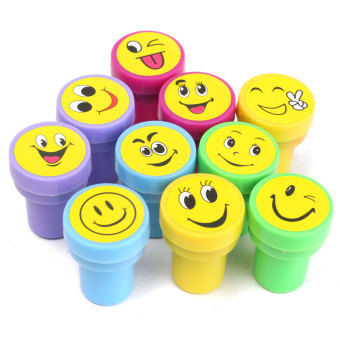 Harga 10x Emoji Smile Silly Face Stamps Set Stationery For Kids Gift Party Loot Bag