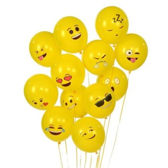 Harga 100PCS Birthday Party Latex Balloons Emoji Sources Smile Face Decoration - intl