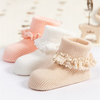 Jiayiqi Girls Princess Lace Flower Baby Socks Solid Color Cotton Anti Slip Baby Socks ( Random Color ) - intl