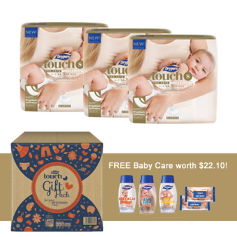 Harga Drypers Touch S 70s x 3 (3 - 7kg) 210pcs/box Free Baby Care products worth 22.10