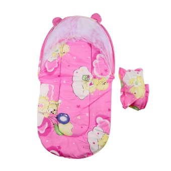 Harga OH Foldable New Baby Cotton Padded Mattress Pillow Bed Mosquito Net Tent Pink