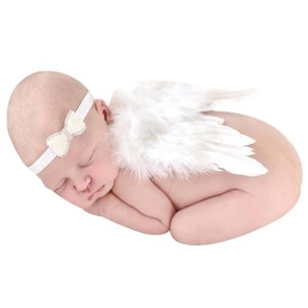 Angel Wings Wing Set Feather Newborn Photography Props (White)| - intl