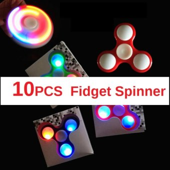 Harga 10 LED Light Fidget Spinner Anxiety Reducer Spinner Finger Tri Decompression Toys ( Random Color) - intl