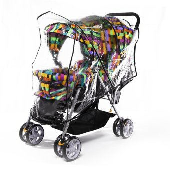 Harga Universal PVC Double Twins Front-to-Back Baby Stroller Pram Buggy Transparent Rainproof Cover Rain Shade