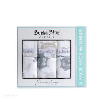 Harga Bubba Blue Mod The Owl 3 Pack Velour Face Washer