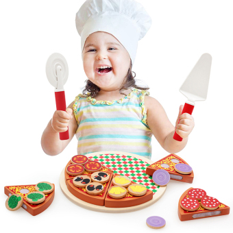 Harga Wooden simulation pizza toys pizza honestly music children's over every family Kitchen toys western food toys
