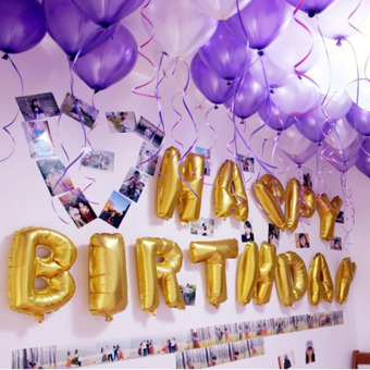 Harga Aluminum Foil Membrane Happy birthday Silver/Gold Set Party Balloons Glold
