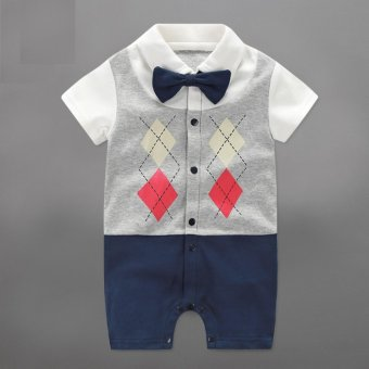 Infant Newborn Baby Boy Rompers Summer Geometric Style Gentleman Bow One-piece Tie Boy Suits - intl