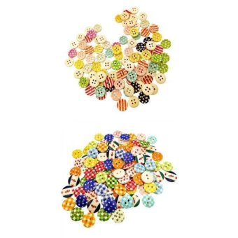 MagiDeal 200Pieces Assorted Wooden Round 2 Holes Buttons for Sewing and Crafts 15mm - intl