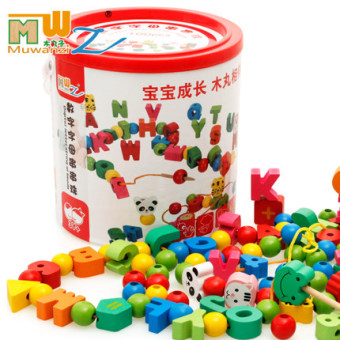 Harga Kids wooden threading beads