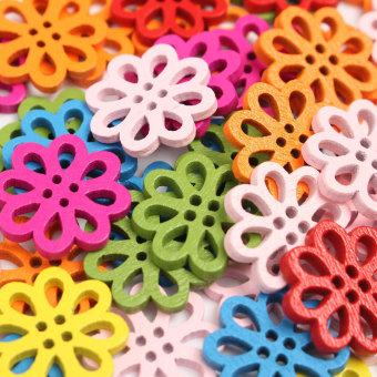 DIY 50 Pcs Random Mixed Flower Shape Wood Sewing Buttons 20mm paste decoration - intl