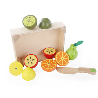 Harga Wooden Kitchen Toys Cutting Fruit Play miniature Food Kids Wooden baby early education food toys - intl