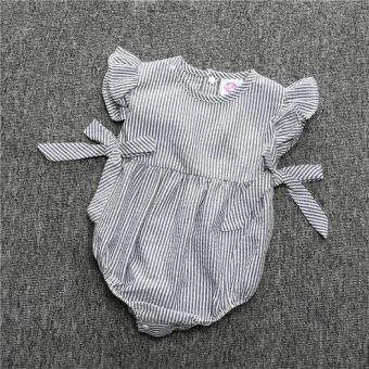 Harga Baby One - Piece Bow Dress Children 's Striped Sleeveless - Grey - intl