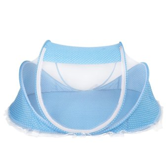 Harga Mosquito Net Anti-Bug Crib Tent with Mattress Pillow for Baby Infant Blue - intl
