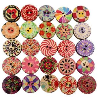 MagiDeal 2x 100PCS MIXED ROUND BUTTONS WOODEN FLAT FOR SCRAPBOOKING SEWING CARDMAKING - intl