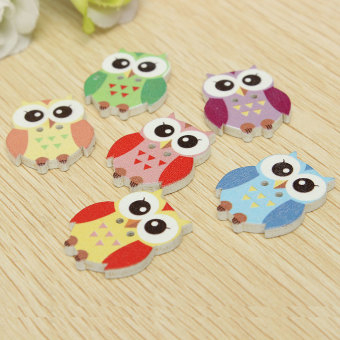 50Pcs Mixed 2 Holes Owl Pattern Wooden Buttons Fit Sewing Scrapbooking 20x25cm - intl