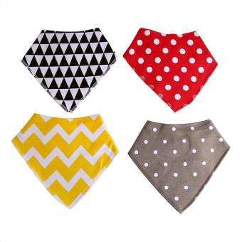 4Pcs/Set Cute Bibs Fashion Cotton Baby Toddler Feeding Saliva Towel Triangle Head Scarf Red Dots - intl