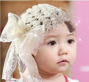 Harga Korean-style lace flowers Butterfly knot baby hair band