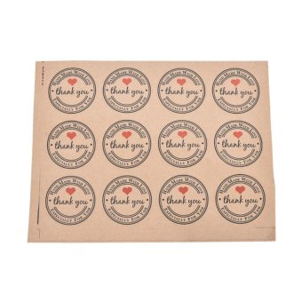 Harga 60pcs Thank You Self-Adhesive Stickers Kraft Label Stickers Gifts Labels Paper - intl