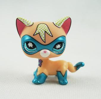 Harga 2 Inch Littlest Pet Shop LPS Short hair Yellow and Blue COMIC CON Cat Masked Super Hero Blue eyes Toys - intl
