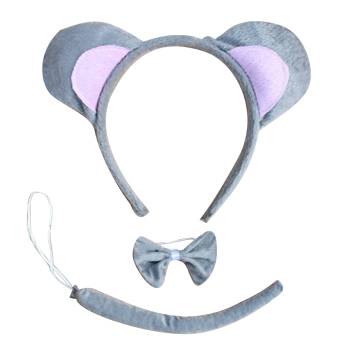 Harga 3pcs Plush Cute Animals Mouse Ears Headband Head Band Bow Tie Tail Set for Halloween Animal Easter Cosplay Costume