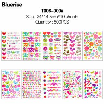 Harga WXS New Nouveau 500Pcs Different Flowers Series Waterproof Temporary Tattoos Stickers Book DIY Body Painting Bonus Glitter Tattoos 10 Sheets/Book Special Design Body Art Decals Tatouage - intl