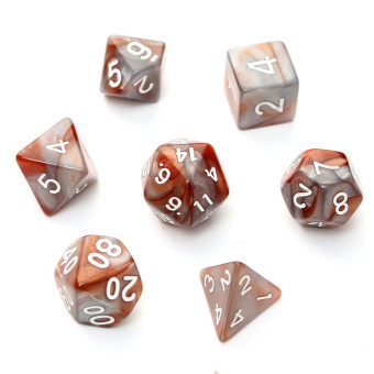 Harga New 7pc/Set TRPG Games Gaming Dices D4-D20 Multi-sided Dices Double colo Brown - Intl