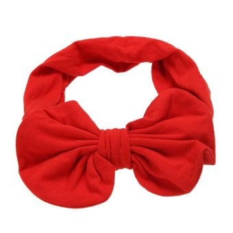 Harga Baby Girls Korean Cotton Bowknot Stretchable Hairband (Red) - intl