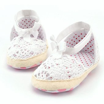 Harga Baby Girl Breathable Soft Sole Shoes(White)(Export)
