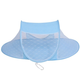 Harga Baby Toddler Foldable Crib Bed Travel Mosquito Net Tent Blue - intl
